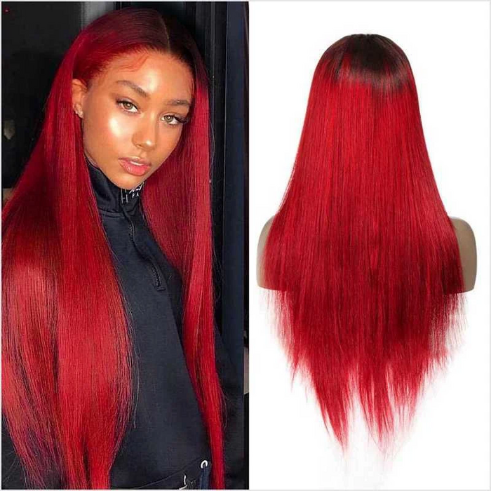 Customized Color 1B/Red Straight Hair Human Lace Wig