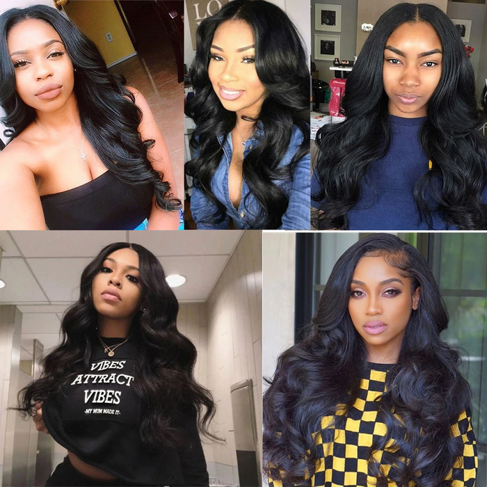 Body Wave 13x6 Lace Front Wig Pré-Plucked perruques cheveux humains
