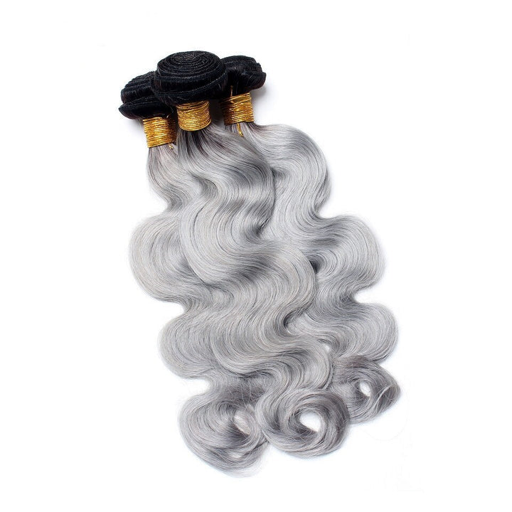 100% Humain Hair Weave 1B/Grey Body Wave Virgin Hair Bundles Deal