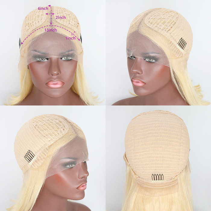 613 Straight Lace Front Wig Blonde 13x1x6 T Part Transparent Lace Wig