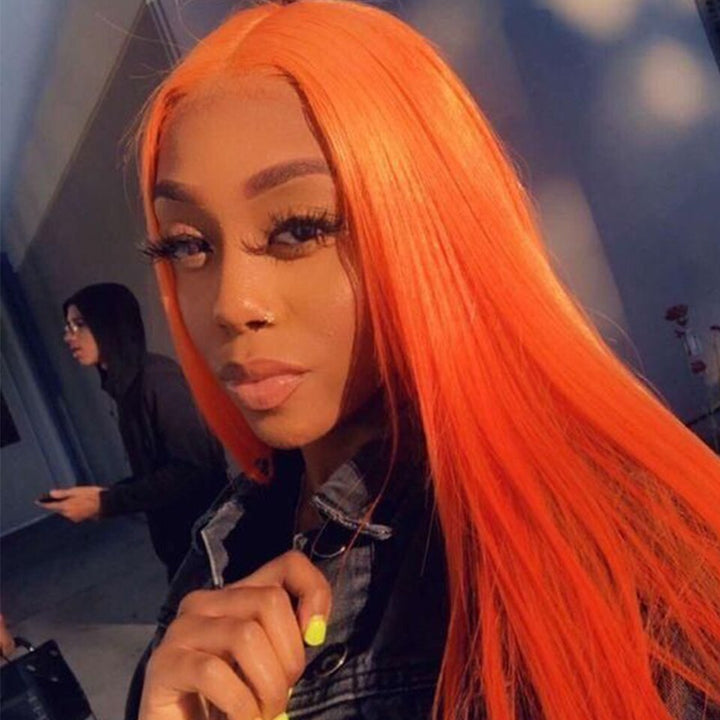 Customized Color Orange Straight Hair Human Lace Wigs