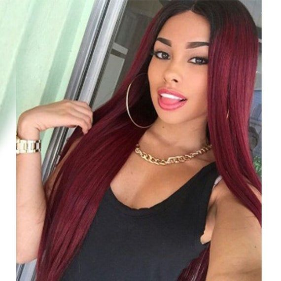 Burgundy 100% Human Lace Wig Straight Rose Fushia Color Front Lace Wig