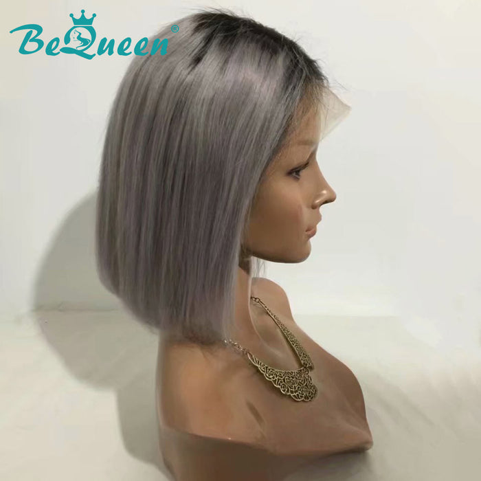 Couleur personnalisée BOB Wig 1BT Grey Straight Human Hair with Natural Hairline