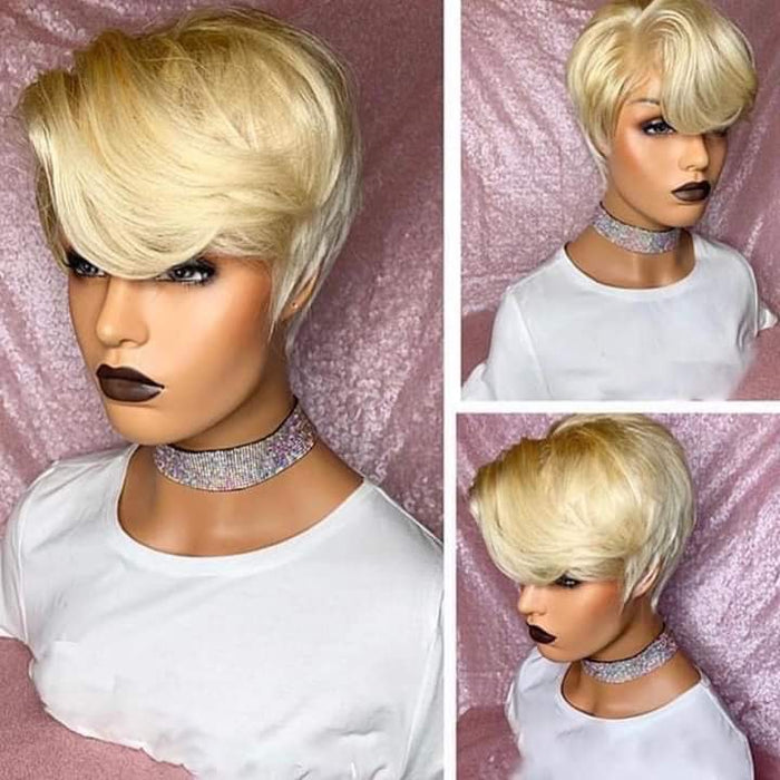 Black Short Pixie Cut Pre-Plucked Blonde Front Lace Bob Wig 100% Human Hair Wigs