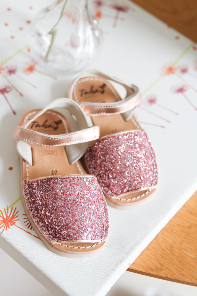 Kids Pink glitter with ankle strap - Taha Australia
