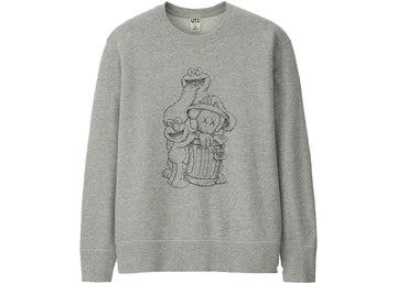 KAWS x Uniqlo x Sesame Street Companion Trash Can Outline Sweatshirt Gray