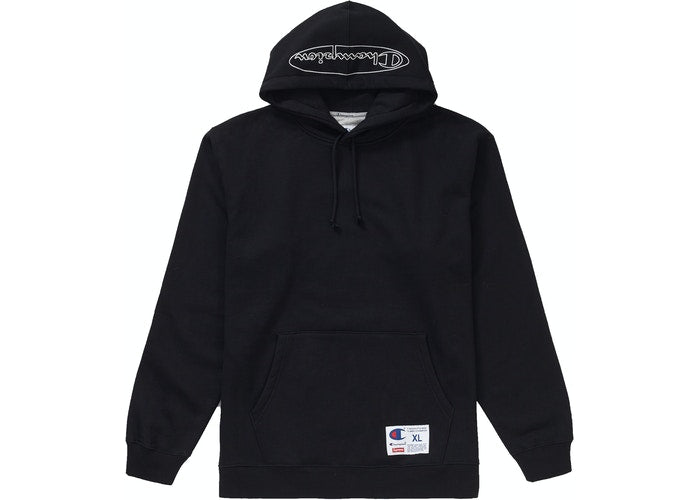 Supreme Champion Outline Hooded Sweatshirt Black
