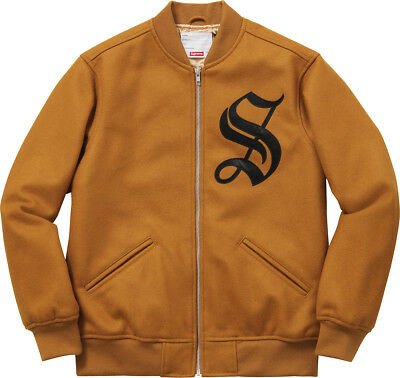 Supreme Old English Varsity Jacket Dk Gold