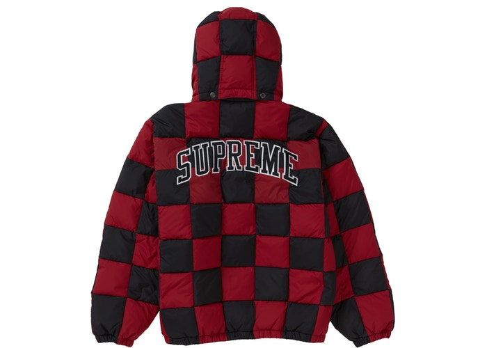 Supreme Checkerboard Puffy Jacket Dark Red