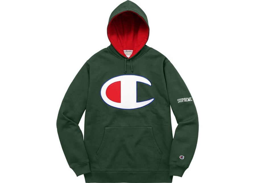 Supreme Champion Satin Logo Hoodie (Dark Green)