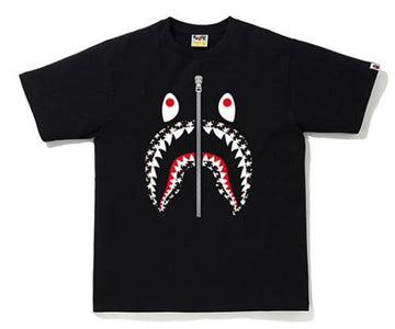 BAPE STA Pattern Shark Tee Black/White