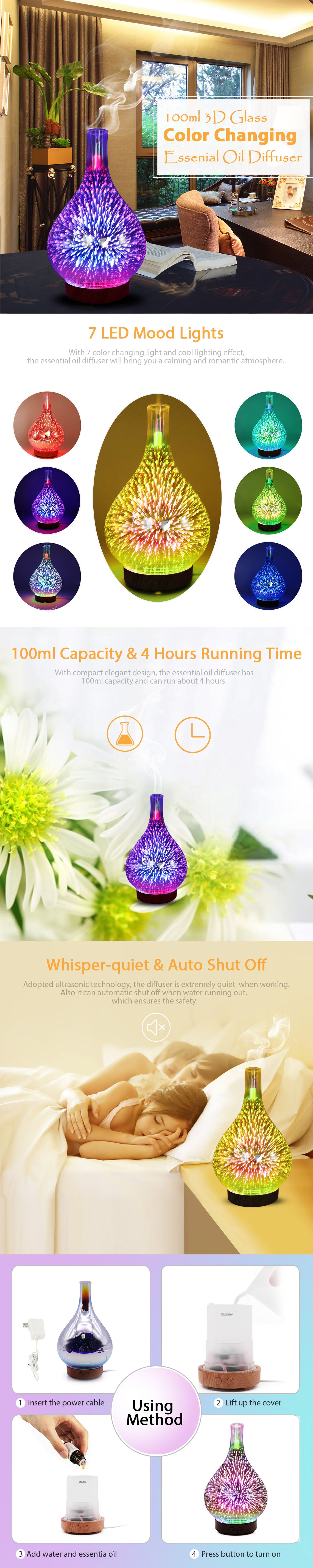 100ml 3D LED Color Changing Essential Oil Diffuser Humidifier