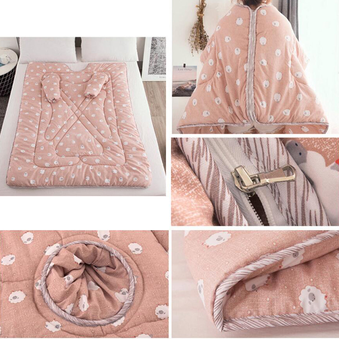Adult & Kids Warm Thickened Lazy Wearable Quilt with Sleeves