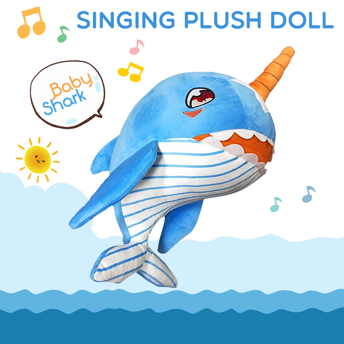 Baby Shark Narwhal Singing Plush Doll
