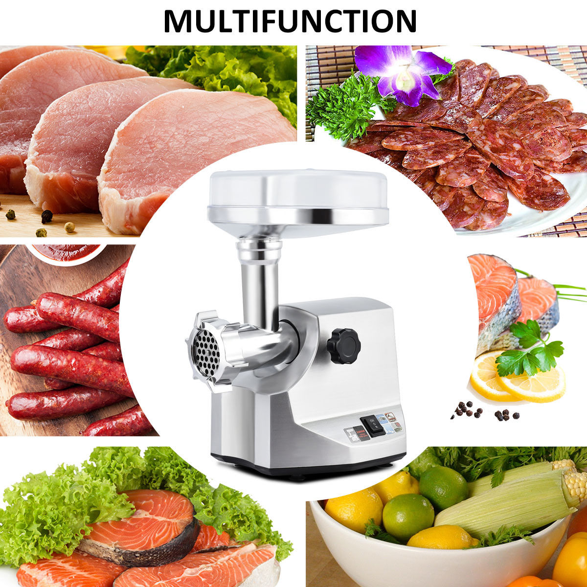 2400W Electric Meat Grinder Stainless Steel Sausage Stuffer Maker