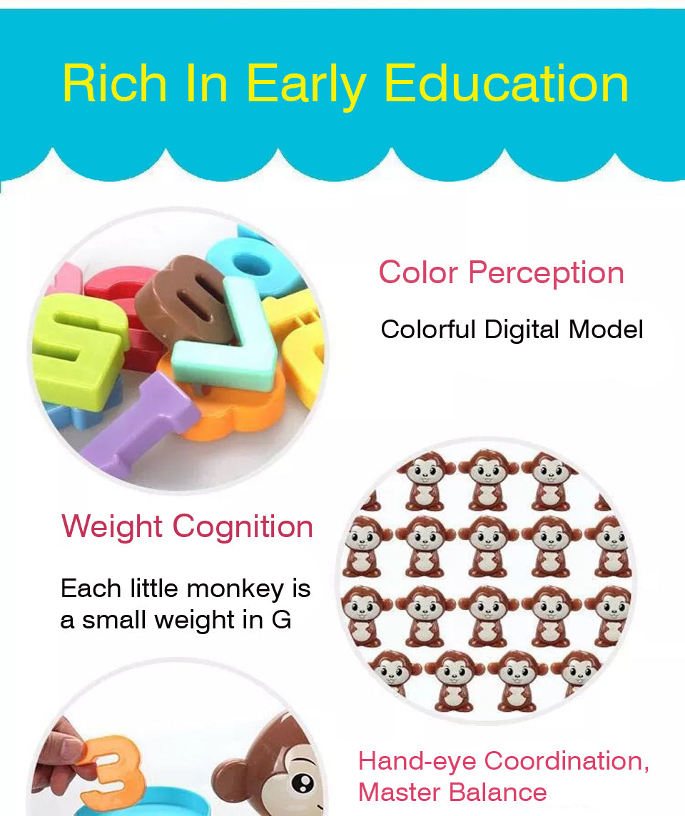 Math Game Toys - Monkey Numbers Balance Game Educational Toy Learning Math