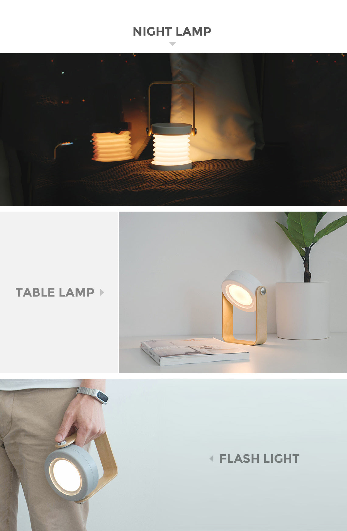 USB Charge LED Portable Collapsible Night Lantern Light