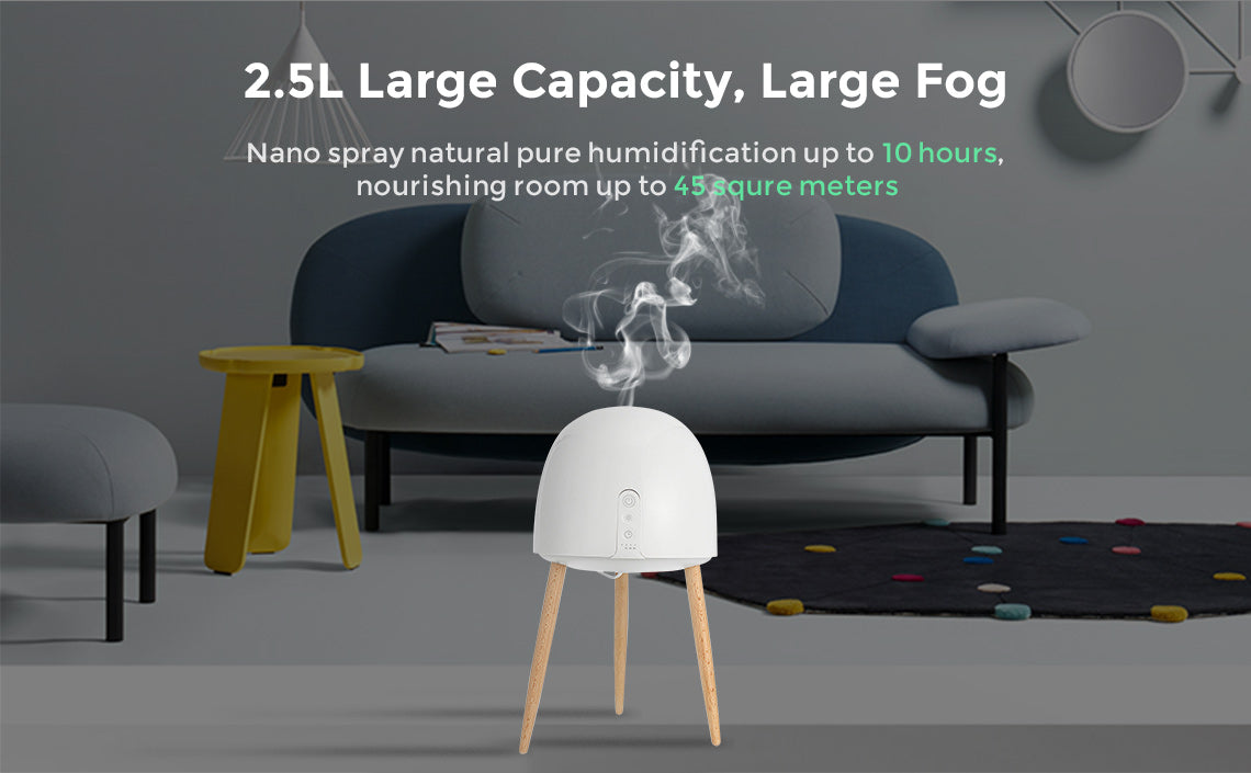 2.5L Large Capacity Wooden Base LED Night Light Air Purifier Humidifier
