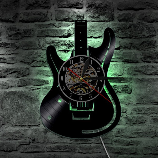 CD Vinyl Record Guitar Themed Remote Control Illuminated Clock - Loviver.com