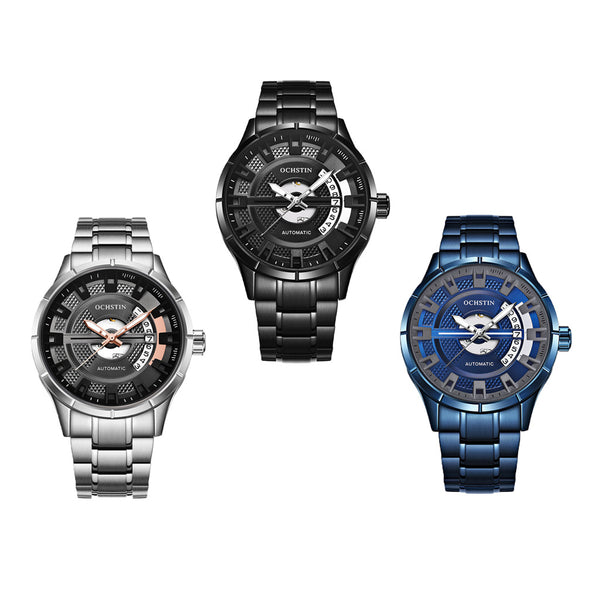 Automatic Mechanical Calendar Watch Stainless Steel Business Watch Blue