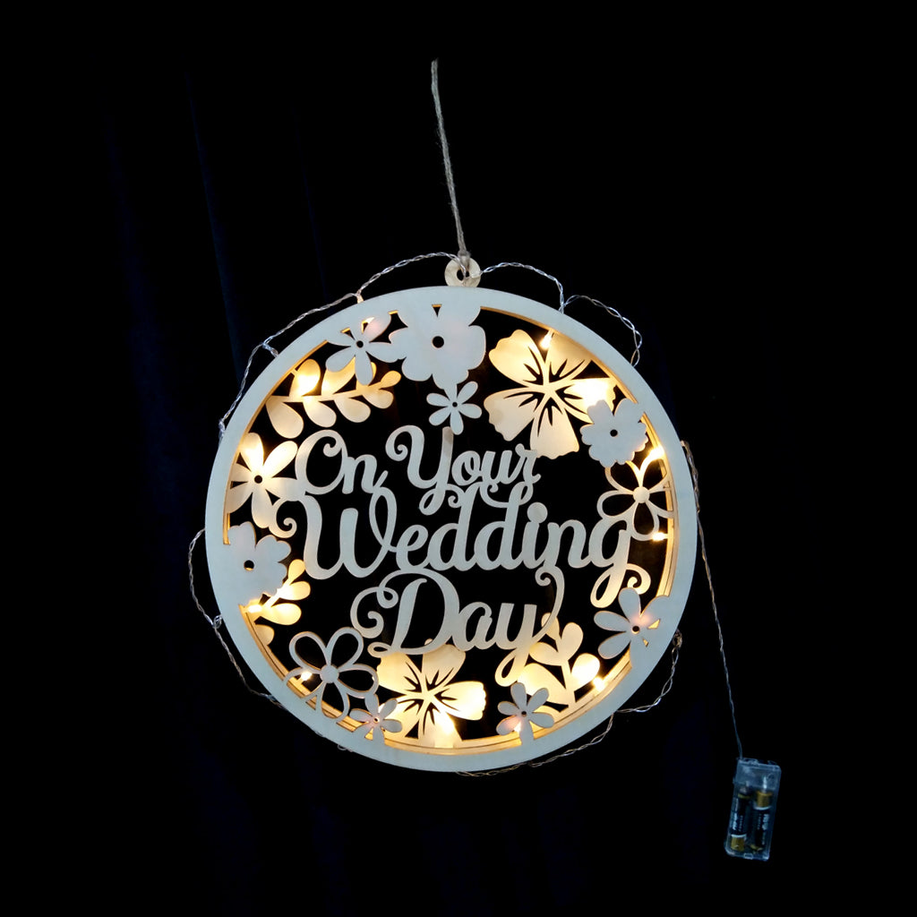 """On Your Wedding Day"" Wooden Hanging Board Plaque with String Light - Loviver.com"
