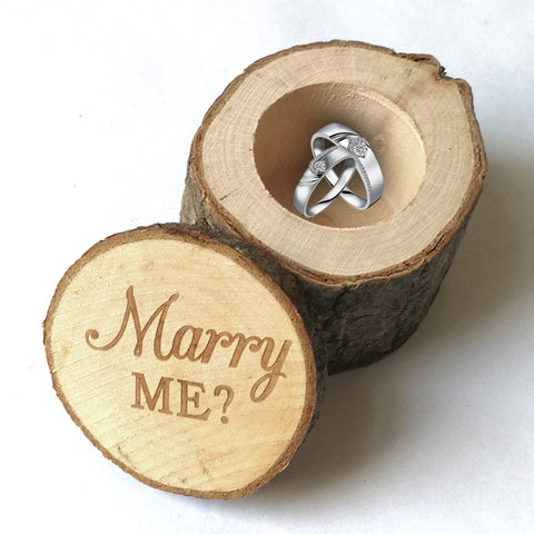 """Marry Me?"" Rustic Tree Log Proposal Ring Box - Loviver.com"