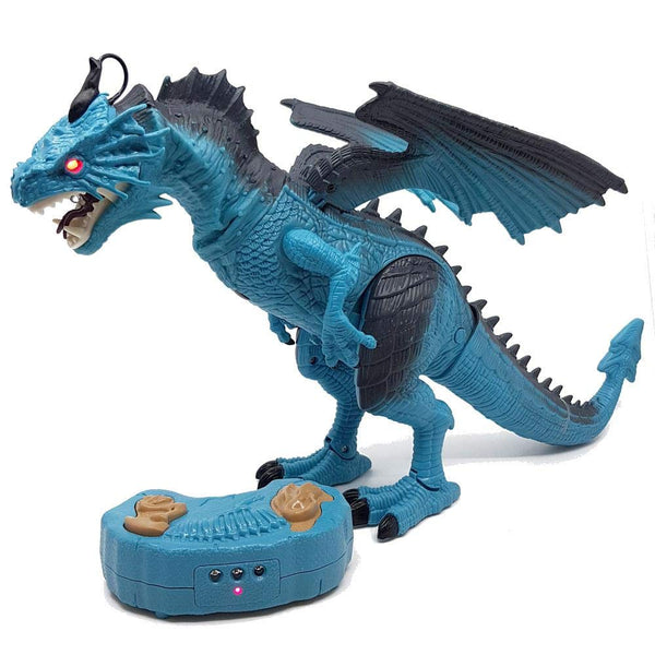 RC Electronic Walking Dinosaur Toy with Spraying Smoke - Blue