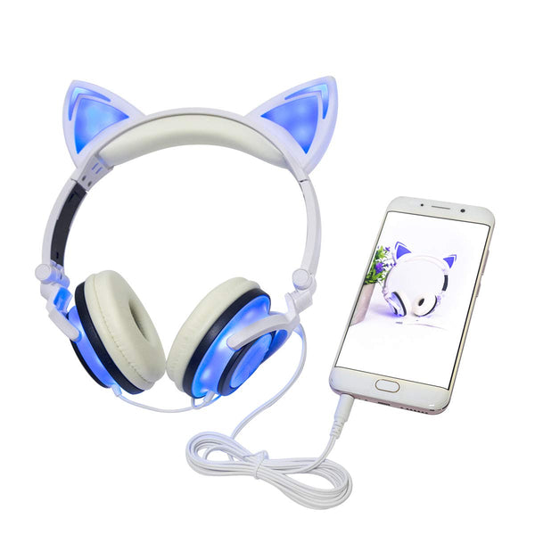LED Light Cat Ear Headphone USB Chargeable Foldable