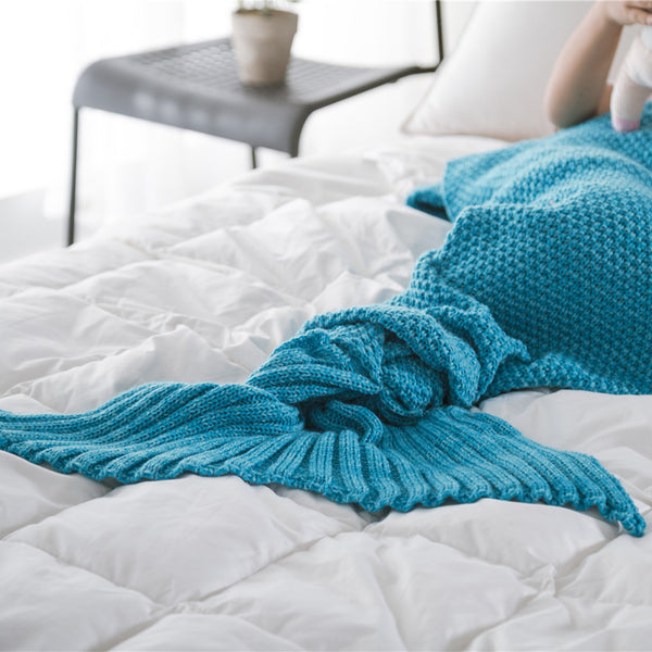 Kids Crochet Knitting Handcraft Mermaid Tail Blanket