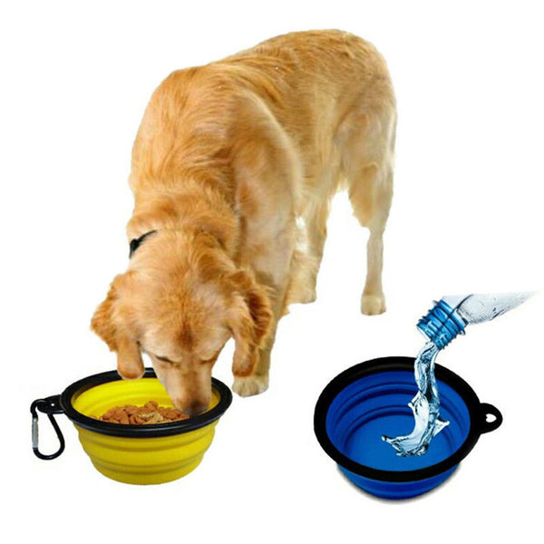 Pet Dog Portable Collapsible Silicone Travel Feeding Bowl
