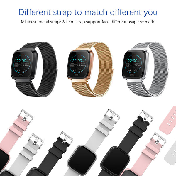 Smart Wristband Heart Rate Sleep Tracker Message Reminder Watch black