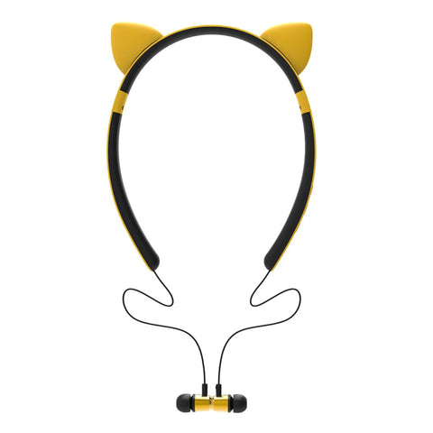 Wireless Bluetooth Stereo Headset Cute Headphone with/Microphone Yellow