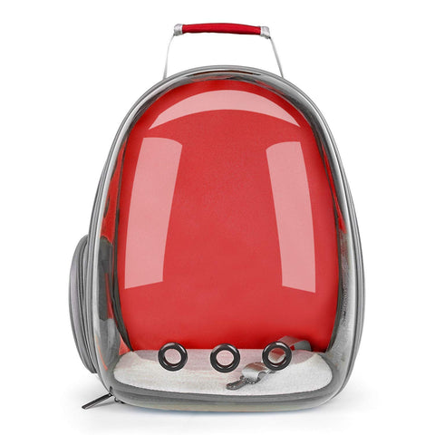 Pet Space Capsule Carrier Backpack with Parrot Bird Stand & Feeder