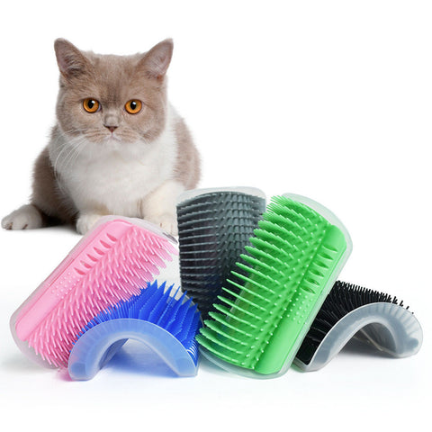 Pet Cat Wall Corner Self Rubbing Massage Removal Brush With Catnip