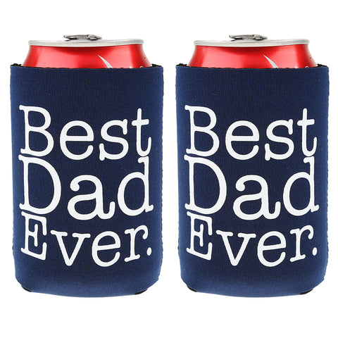 BEST DAD EVER Folding Can Cooler Sleeve 2pcs - Loviver.com