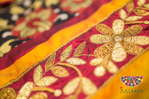 Handpainted Handcrafted Authentic Original Kalamkari Saree in Georgette with Heavy Zardosi Zardozi work from Jullaaha_www.jullaaha.com