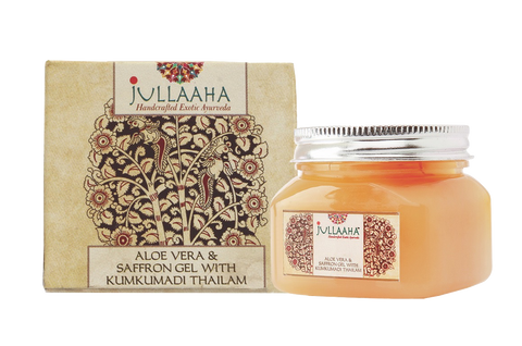 Authentic Original Handcrafted Exotic Ayurvedic Personal Care Products from Jullaaha _ Exotic Ayurveda _ Ayurveda for Skin and Hair _ Aloe Vera and Saffrom Gel with Kumkumadi Thailam for face and skin_ www.jullaaha.com