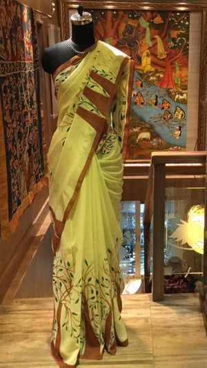 Georgette Original Handpainted Saree - Lemon Yellow - Jullaaha Boutique