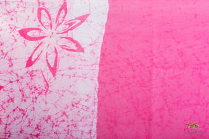 Original Handpainted Batik Cotton Saree - Pink & White - Jullaaha Boutique