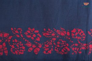 Soft Silk Original Handpainted Batik Saree - Navy Blue & red - Jullaaha Boutique