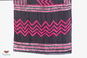 Soft Silk Original Handpainted Batik Saree - Black, Pink & White - Jullaaha Boutique