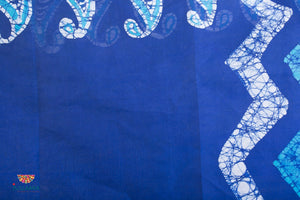 Original Handpainted Batik Cotton Saree - Blue & White - Jullaaha Boutique