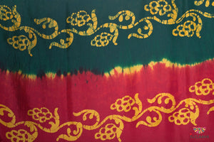 Soft Silk Original Handpainted Batik Saree - Red & Green - Jullaaha Boutique