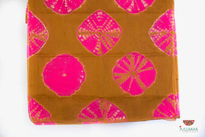 Original  Soft silk  Tie-&-Dye Saree - Brown, Pink and White - Jullaaha Boutique