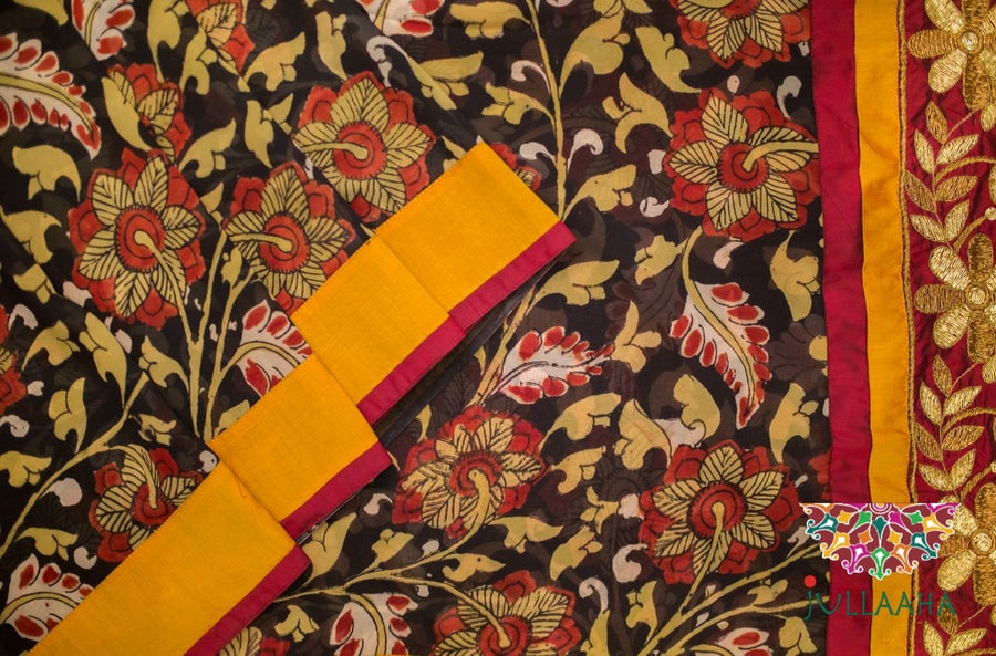 Georgette Kalamkari Zardosi Saree - Cream, Red and Black - Jullaaha Boutique