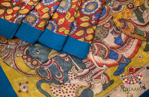 Georgette Kalamkari Saree - Blue, Red, Yellow and White - Jullaaha Boutique