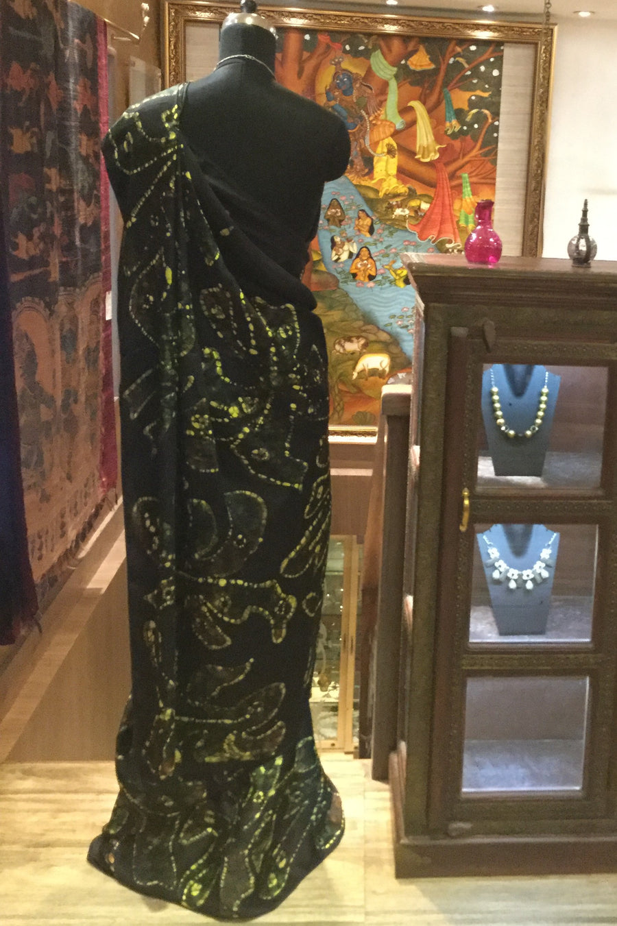 Sumo Silk Handcrafted Saree - Black, Yellow, Green - Jullaaha Boutique