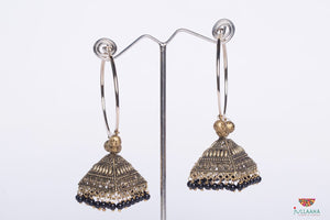 Ring Earring With Black Pearls - Jullaaha Boutique