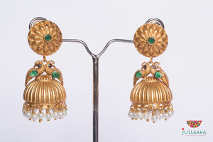 Antique Jumkha With Green Stones - Jullaaha Boutique
