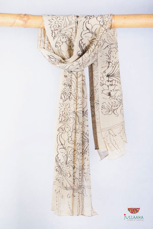 Georgette Stole / Dupatta With Handpainted Kalamkari Floral Design - Jullaaha Boutique